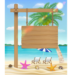 hang wood board sign on sea beach with relax chair vector image