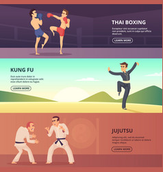 horizontal banners with martial characters vector image