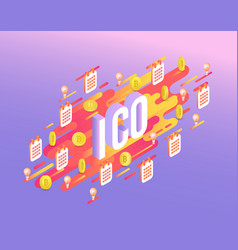 Ico text design - isometric vector