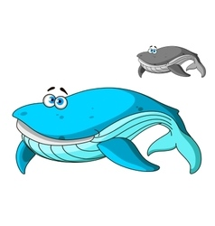 Large cartoon blue whale character vector