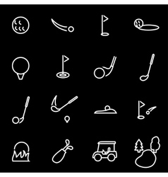 line golf icon set vector image
