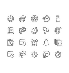 Line time management icons vector
