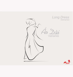long dress conical hatsfashionvietnamese girls vector image