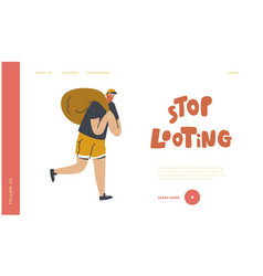 looting landing page template masked robber vector image
