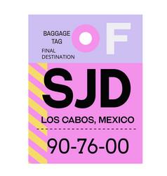 Los cabos airport luggage tag vector