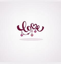 love lettering logo lebel emblem in boho doodle vector image