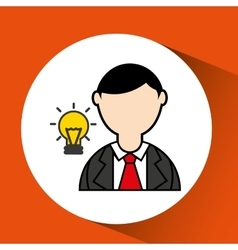 Man bearded and bulb creativity icon vector