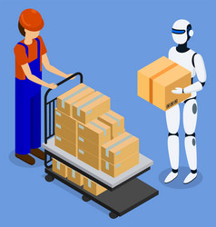Man use robot to lift and move boxes innovation vector