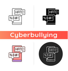 messenger cyberbullying icon vector image