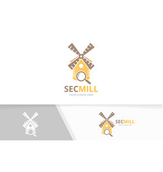 mill and loupe logo combination farm and vector image
