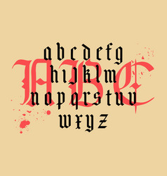 Modern gothic alphabet vintage font vector