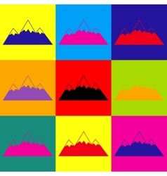 Mountain sign Pop-art style icons set vector image