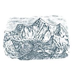 Mountains peaks vintage elbrus old looking hand vector