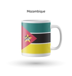 Mozambique flag souvenir mug on white background vector