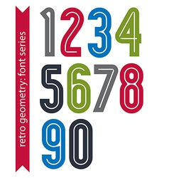 Multicolored poster classic style rounded numbers vector