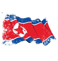 North Korea Flag Grunge vector image