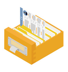 Office files in a filing cabinet drawer business vector