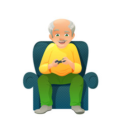 old active man with vector image