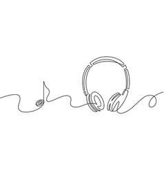 one line headphones continuous drawing music vector image