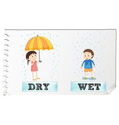 Opposite adjectives dry and wet vector
