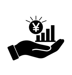 palm out jpy japanese yen growth bar chart black vector image