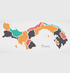 Panama map with states and modern round shapes vector