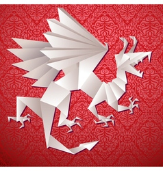 Paper dragon origami vector