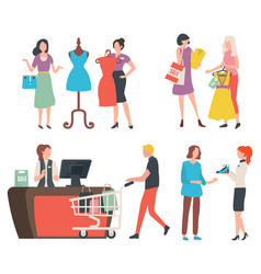People at store buying clothes cashier and client vector