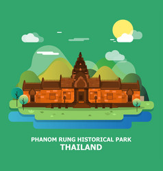Phanom rung historical park famous place in vector