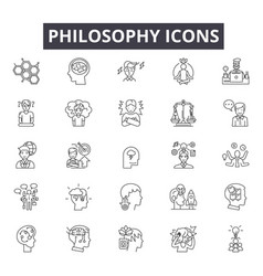 Philosophy line icons signs set linear vector