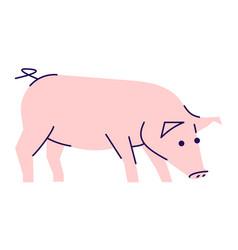 Pig side view flat livestock farming domestic vector
