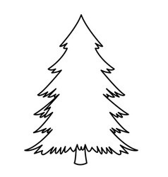 pine tree icon isolated black and white vector image