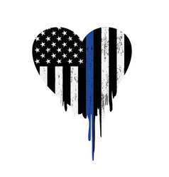 Police thin blue line support heart vector