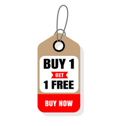 Price tag buy 1 get 1 free buy now image vector