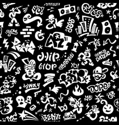Rap music hip hop seamless background vector