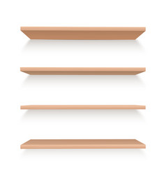 Realistic wooden shelves set to arrange items or vector