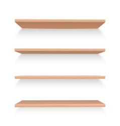 realistic wooden shelves set to arrange items vector image