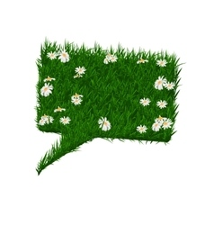 Rectangular bubble for speech with daisies and vector image