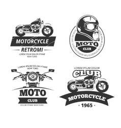 Retro motor club labels set vector image