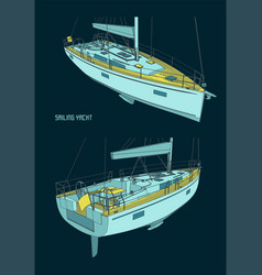 sailing yacht color drawings vector image