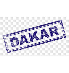 Scratched dakar rectangle stamp vector