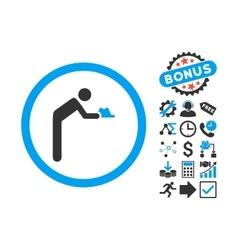Servant Flat Icon with Bonus vector