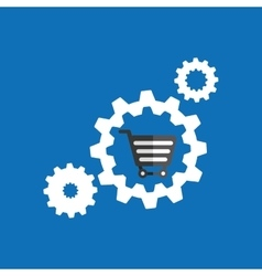 Set gear cart shopping buy online icon vector