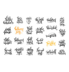 set of 25 halloween party hand lettering vector image