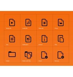 Set of Files icons on orange background vector