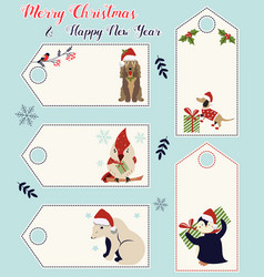 set of holiday tags with different cute animals vector image