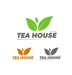 Set of logos for tea house shop or company vector