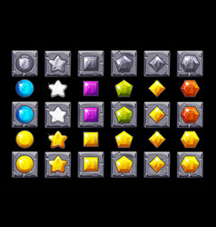Set precious stone icons on stone square vector