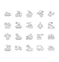 Set simple icons military transport vector