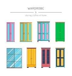 Set wardrobes cabinets vector